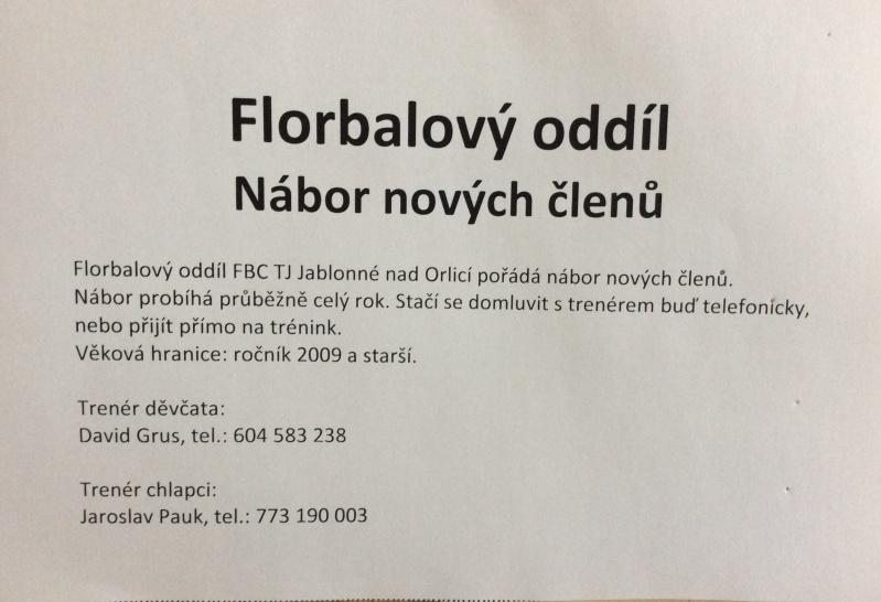 Florbal Jablonné nad Orlicí